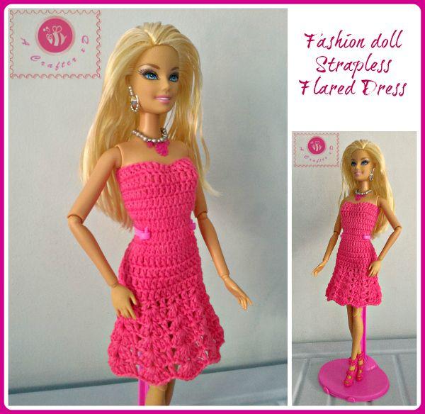 Crochet Fashion Doll Strapless Flared Dress B Barbie Robe Courte