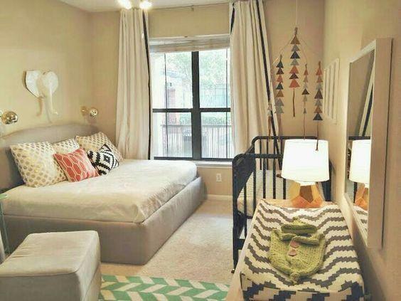 Habitaci n compartida con cama y cuna leo habitaciones for Decoracion habitacion compartida nino nina
