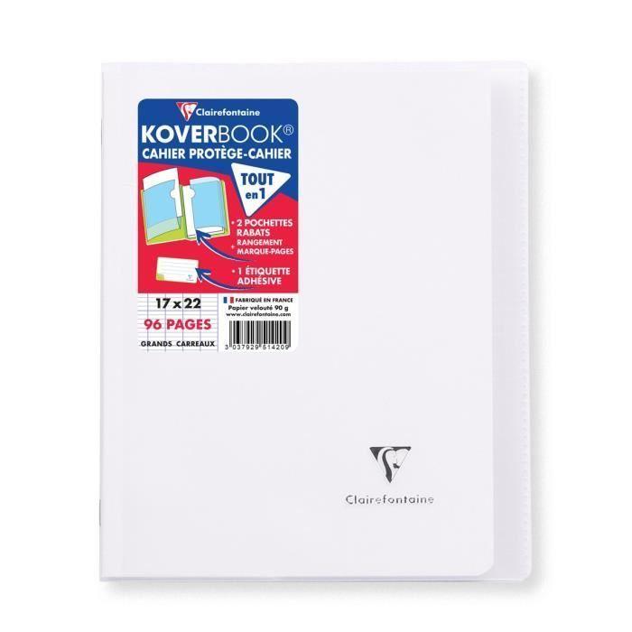 CLAIREFONTAINE – Carnet de notes à rabats KOVERBOOK – 17 x 22 – Seyès 96 pages – Couverture en polypropylène translucide – Incolore   – Products