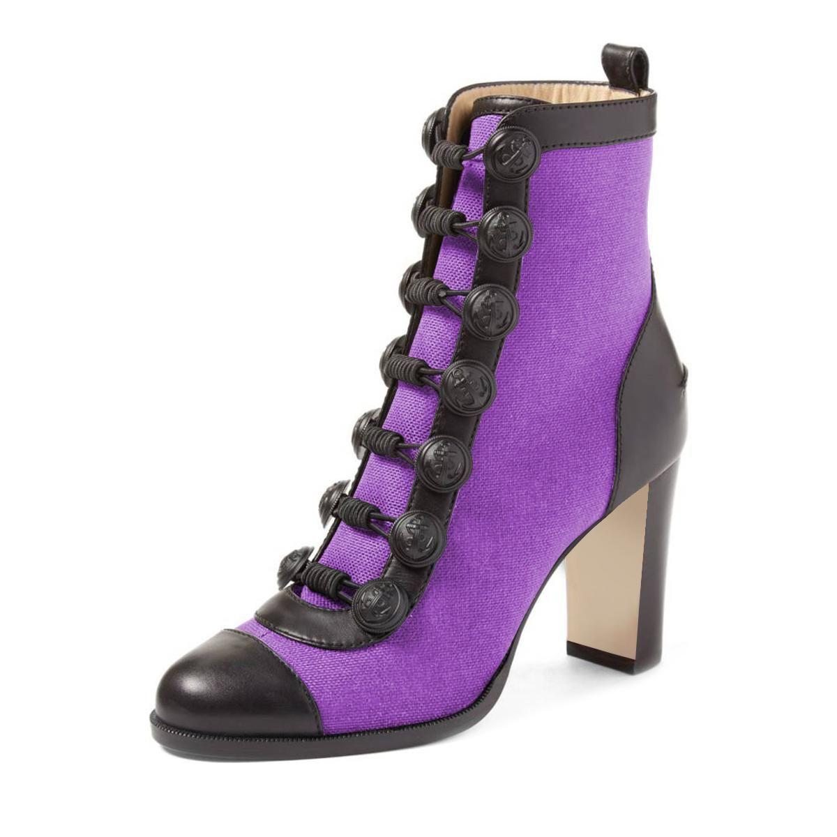 d0628f3d8 #FSJshoes - #FSJ Shoes Women's Purple Commuting Round Toe Chunky Heels  Ankle Boots - AdoreWe.com