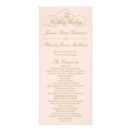 Elegant Blush Pink Gold Wedding Program Template Romantic - Wedding anniversary program templates