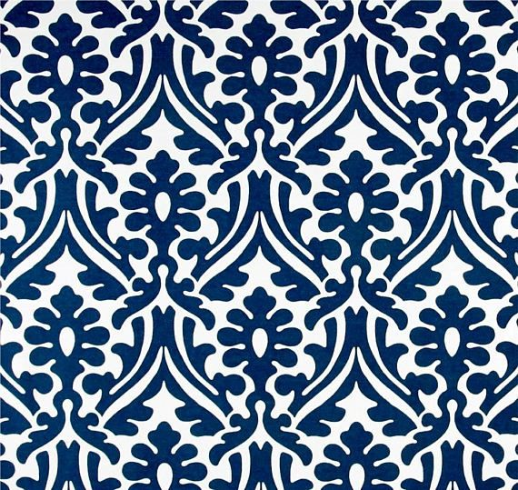 Damask Print Navy Blue Outdoor Fabric by the Yard Designer Indoor ...