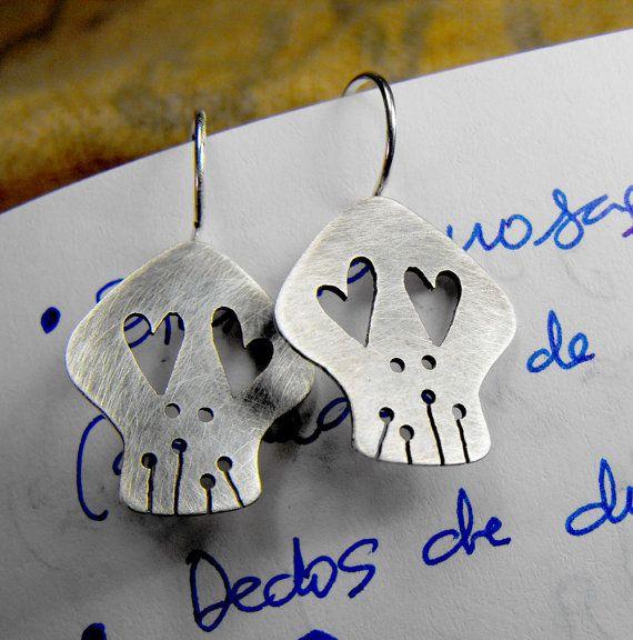 Sterling silver sugar skull earrings. Two lovely dead guys always in love on Etsy, $53.00