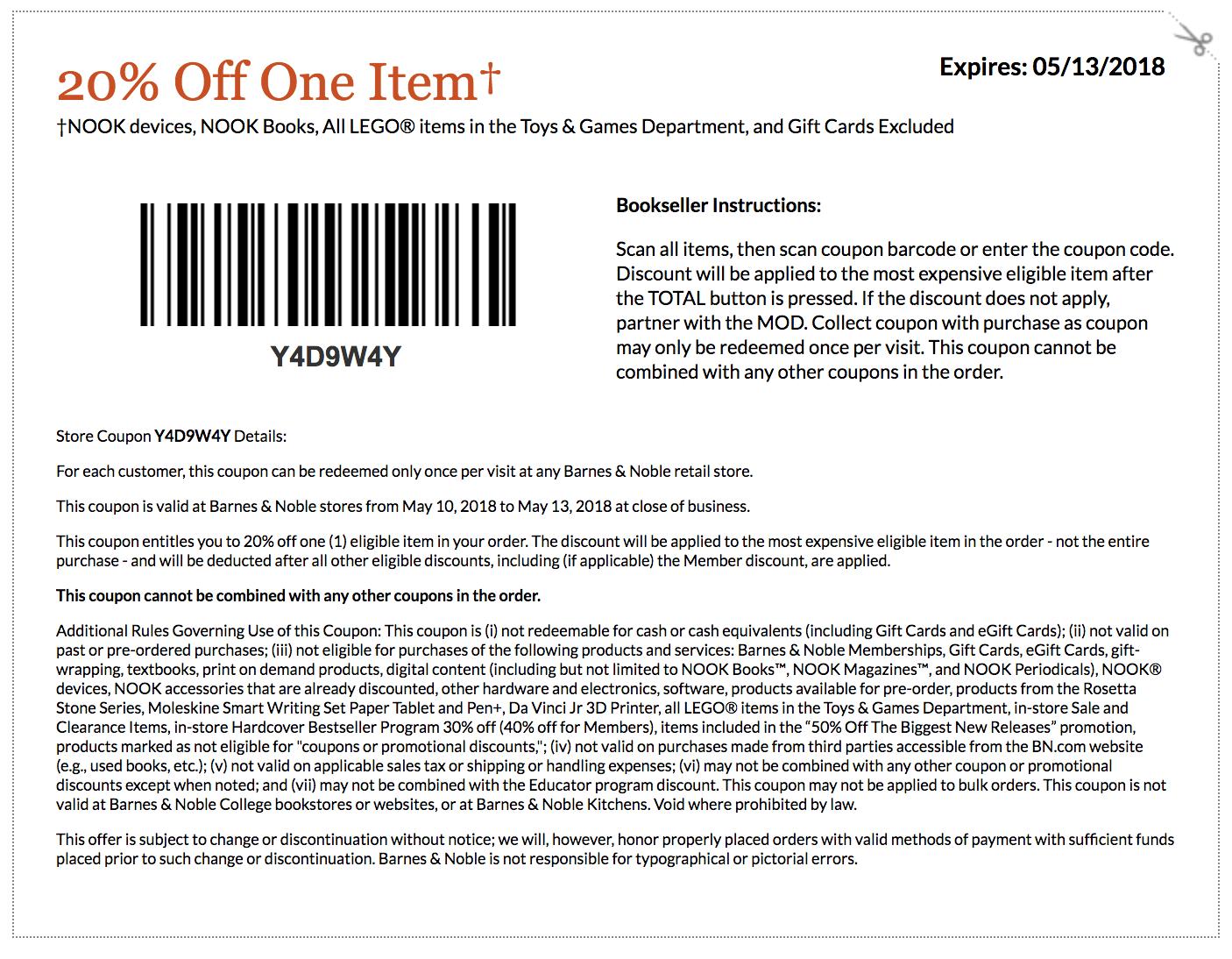 Barnes And Noble Printable Coupons 2015 Barn