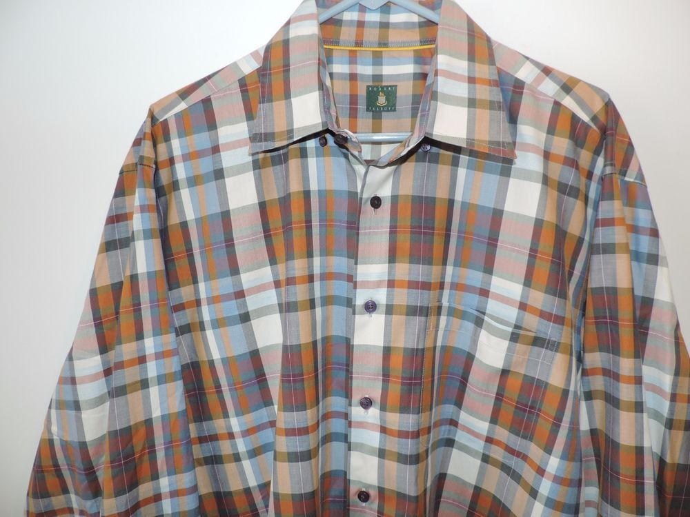 Robert Talbott Big Man Multi Gingham Plaid 100% Cotton Shirt XL Mint Fast Ship #RobertTalbott #ButtonFront