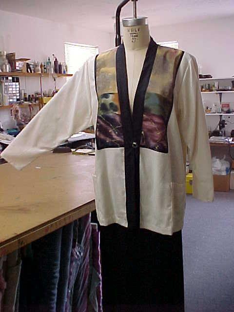New Handmade Natural Raw Silk Jacket-Front by DesignsBySylvia