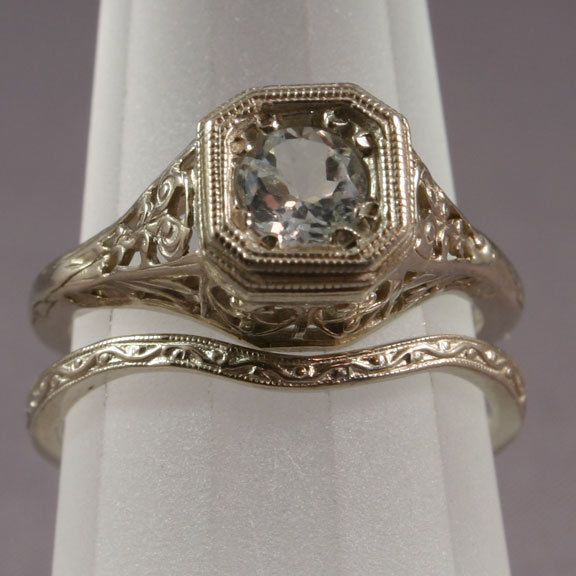Antique Filigree Wedding Band/Engagement Ring Set (WS4) #WithGemstones