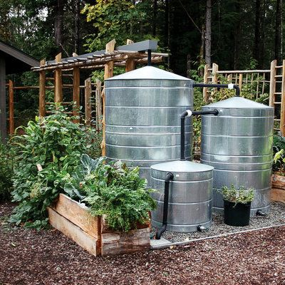 Texas Metal Cisterns Largest 1000 For 1200 Gallons Good Article On Rainwater Harvesting At Sunset Magazi Rain Water Collection Rainwater Rainwater Harvesting