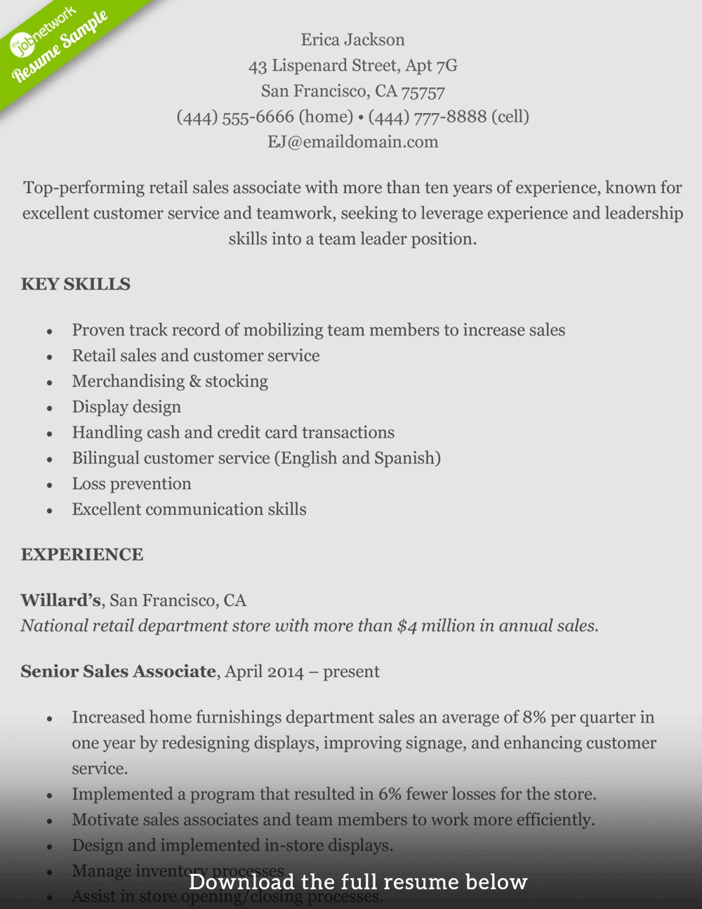 Resume Summary Examples for Retail Management Beautiful