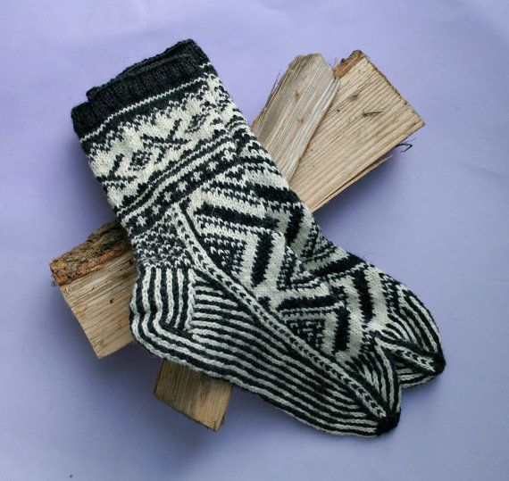 Hand knit fair isle socks warm wool socks knit by MyKnitStudio ...