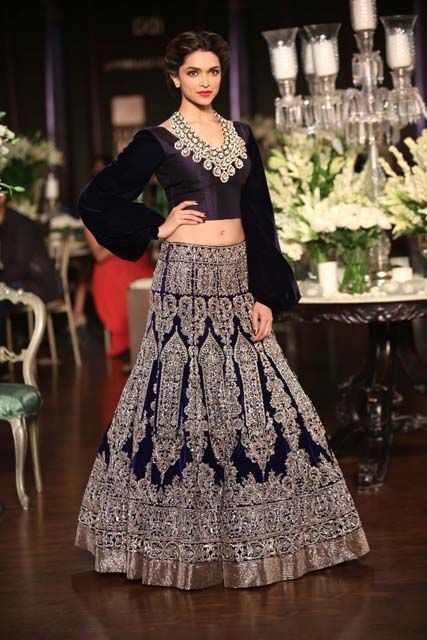 Manish Malhotra Navy Blue Lengha Wedding Reception Outfit And Gold Indian Bride Couture Thecrimsonbride