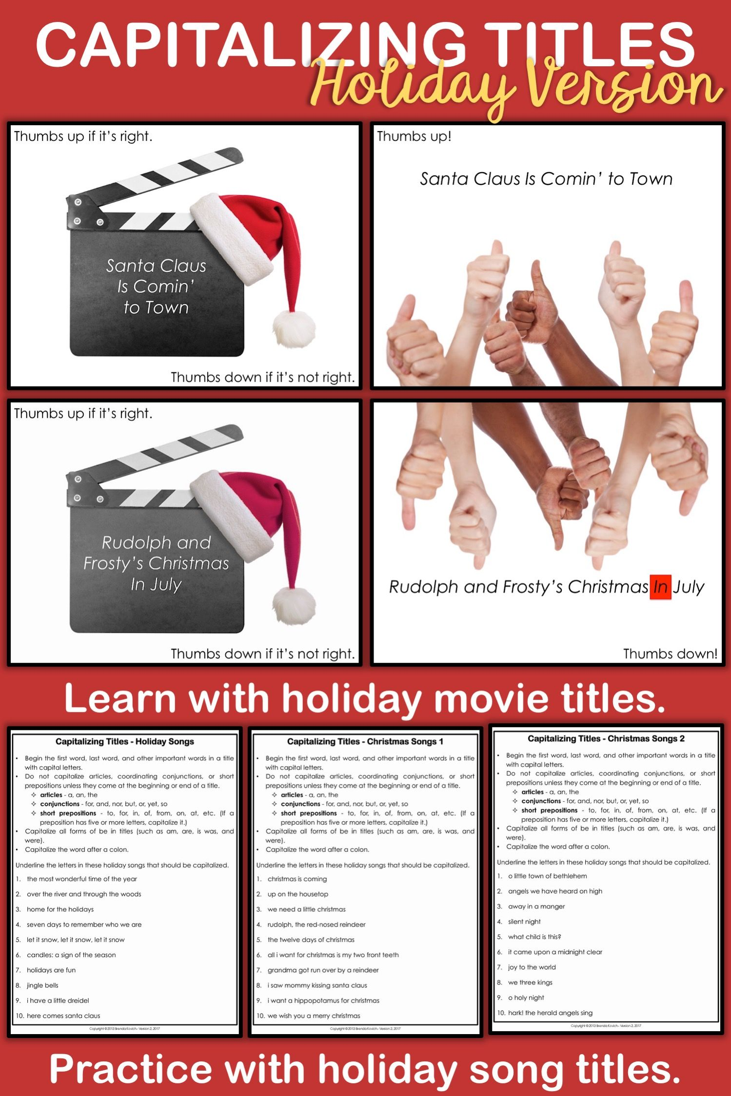 Capitalizing Titles - Holiday Version   Capitalization activities [ 2249 x 1499 Pixel ]
