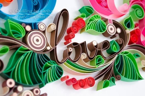 Quilling wall art Quilling art Paper quilling Love Birds image 1
