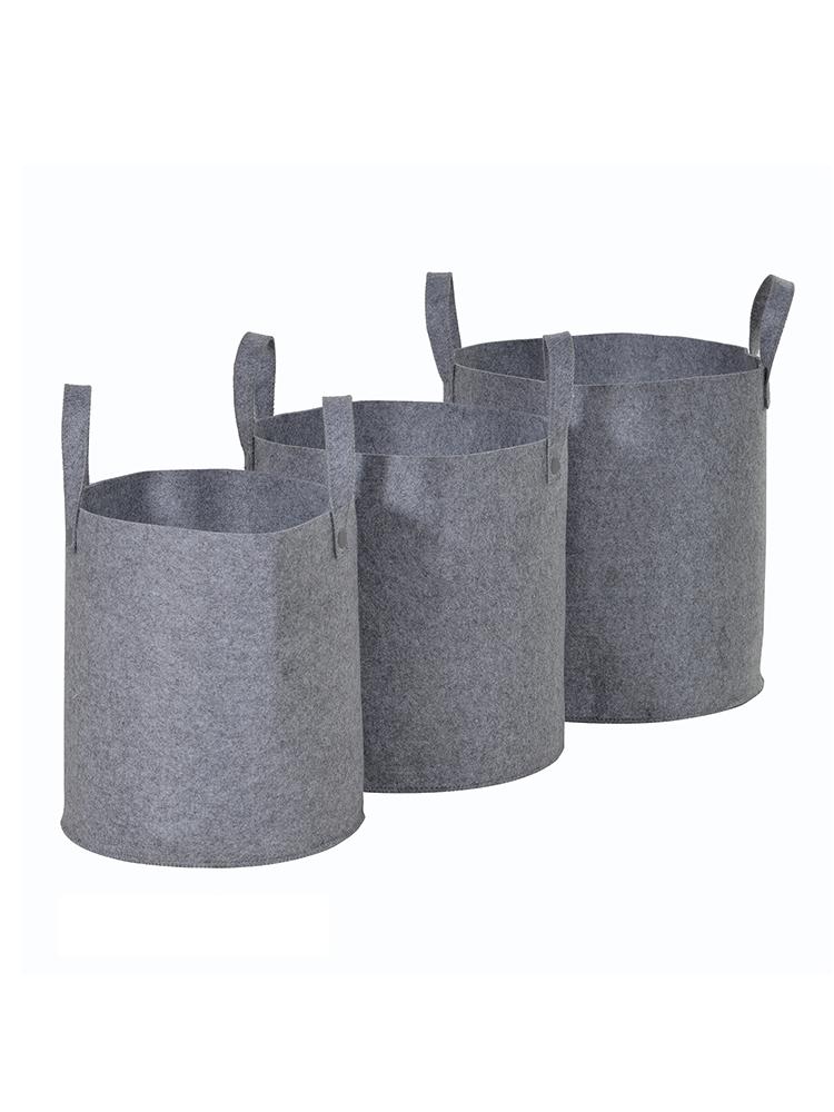 New three felt storage baskets indoor living