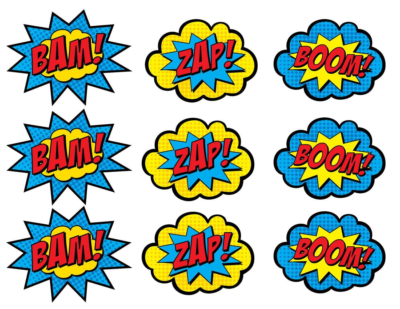Superhero Cupcake Toppers Boom Bam Zap Pow And Pop