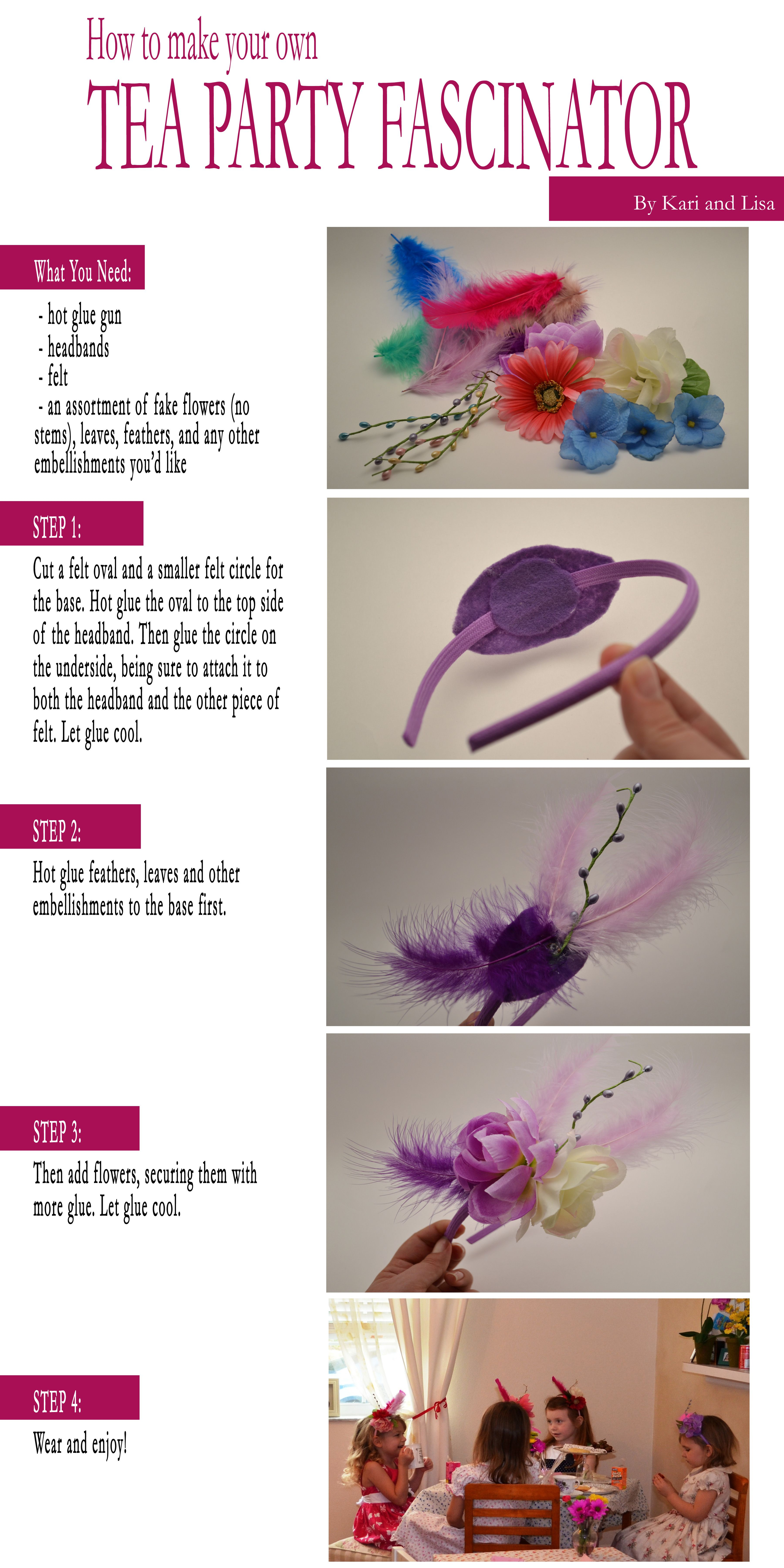 easy tea party fascinator! Diy handmade headbands party favors for girls  tea party 2f9ade7f726d