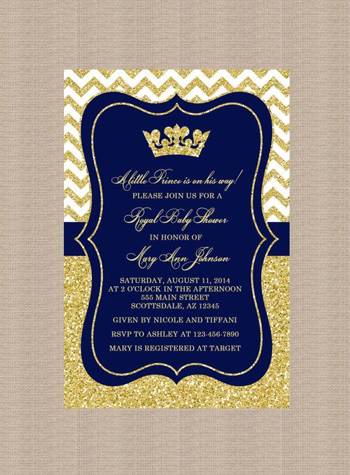 Prince Baby Shower Invitation Royal Blue Gold Glitter