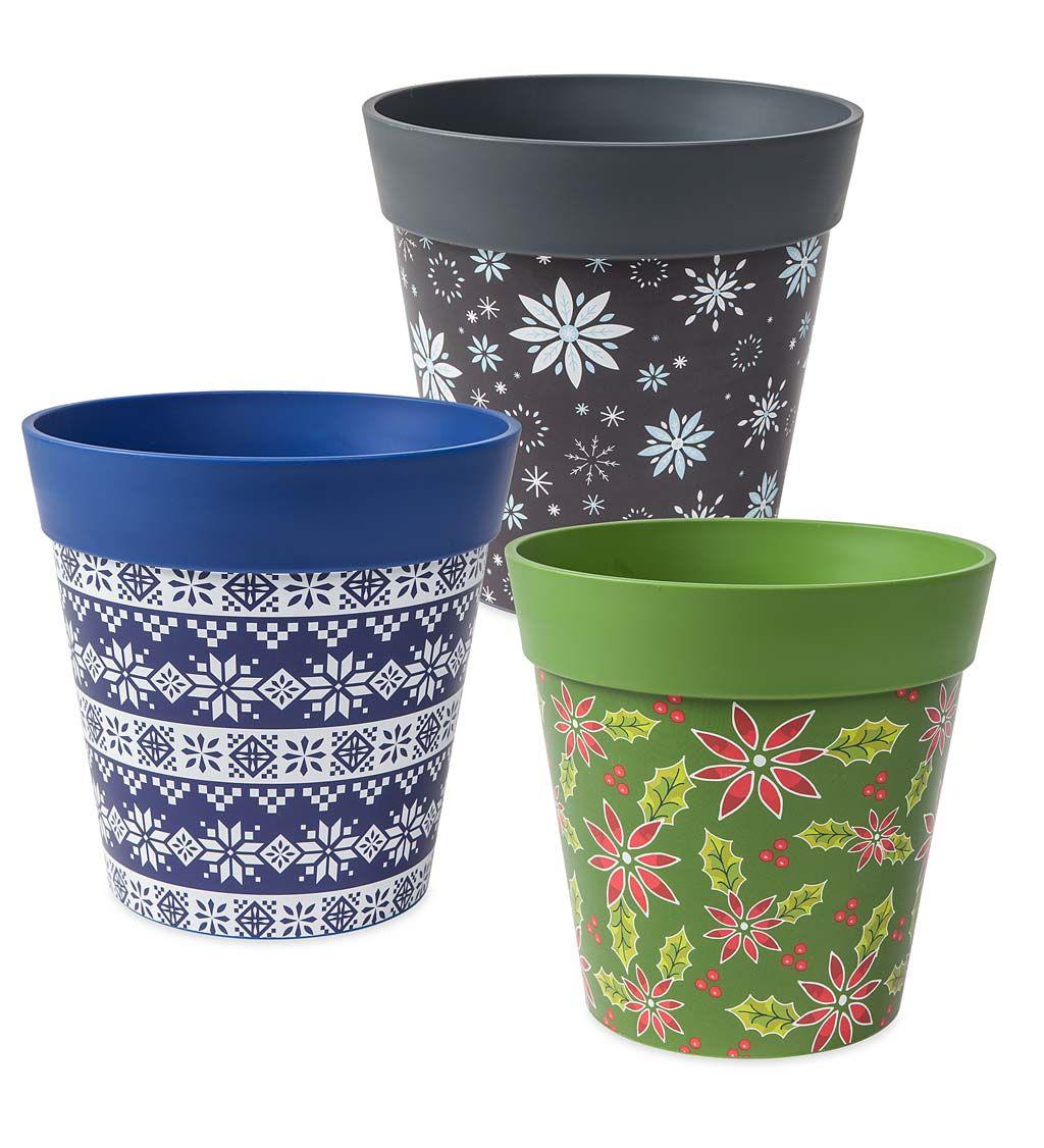 Holiday Hum Pot Colorful Plastic Plant Pots Set Of 2 Decorative Plant Containers Plastic Plant Pots Plastic Plants Painted Pots Diy