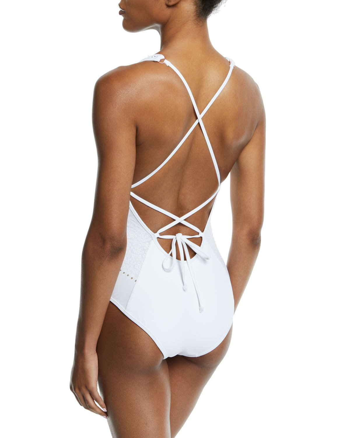 798a08bfe8 Jets By Jessika Allen Indulgence Plunging Halter Lace-Up One-Piece Swimsuit