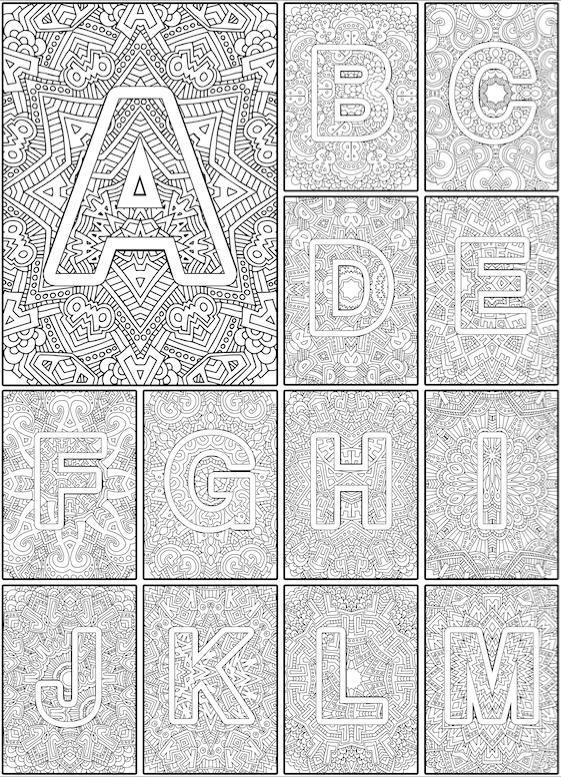 Color the Alphabet A-Z Adult coloring book | Mandalas, Colorear y Letras