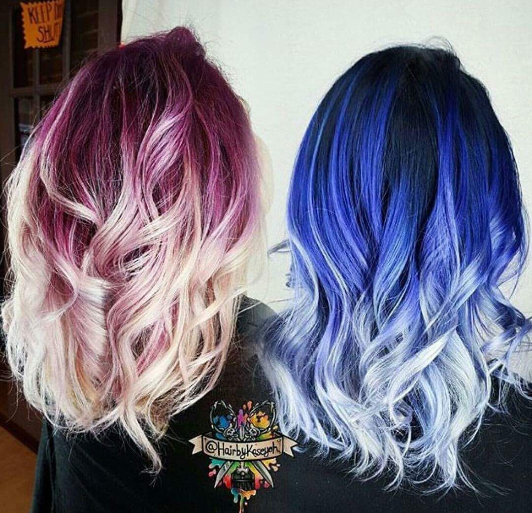 Red and blue ombre hair hair ombre haircolor Colorful Hair