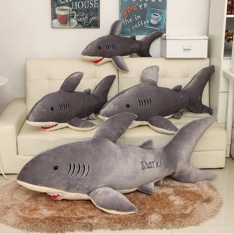 Brave Plush Kids Hawaii Shark Pillow White Shark Plush Toy Giant