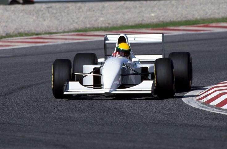 Ayrton Senna testing the McLaren Lamborghini Mp4/8