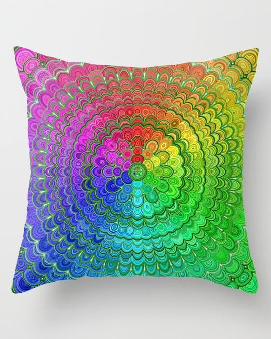 Romantic Home Decor Rainbow Flower Mandala Throw Pillow #MandalaPillow #rainbow #mandala #pillows #cushion #throwpillows #roomdecor #homedecor #decor #bohochic #mandaladecor #flowers #color #flowermandala #colorfulmandala #abstract #giftideas #christmasgift.Romantic Home Decor  Rainbow Flower Mandala Throw Pillow #MandalaPillow #rainbow #mandala #pillows #cushion
