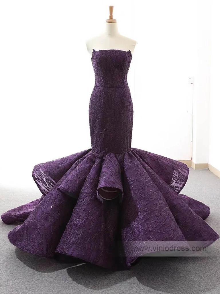 Strapless Mermaid Prom Dresses Trumpet Lace Pageant Dress Fd1381 Mermaid Prom Dresses Wedding Dresses For Girls Purple Wedding Dress [ 1024 x 768 Pixel ]