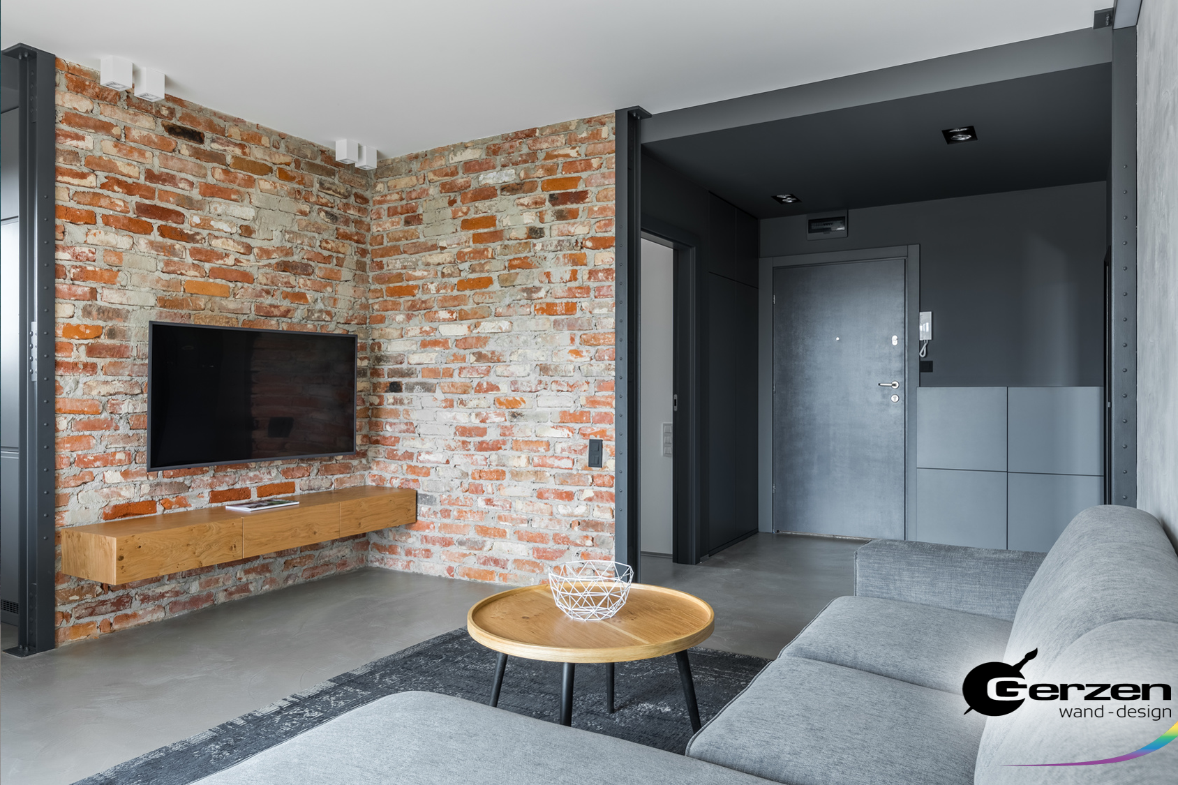 Steinwand im Wohnzimmer, Steinmauer, Backstein-Wand