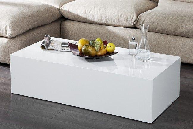 Design Couchtisch MONOBLOC XL 100cm hochglanz weiss | Couchtisch ...