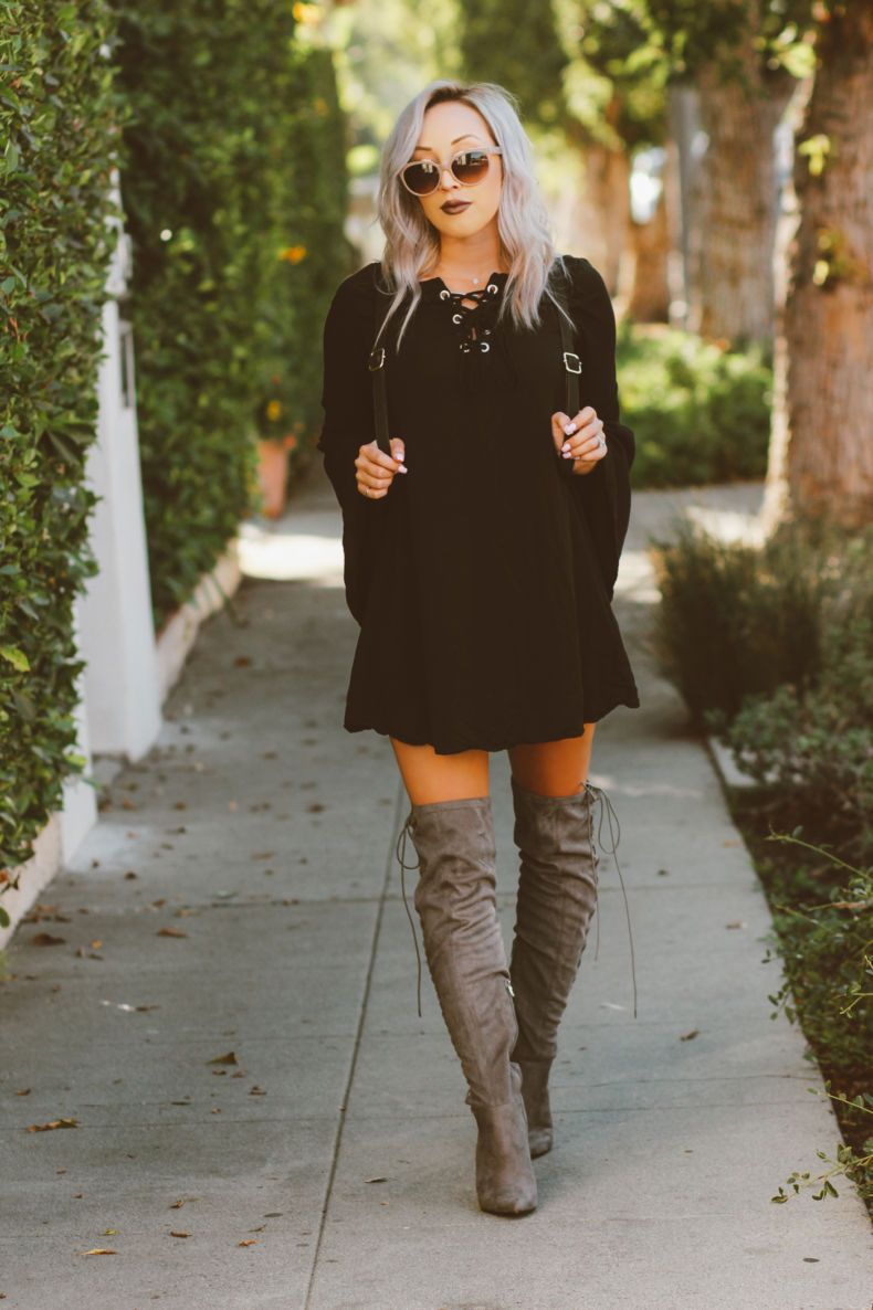 Bell Sleeves Thigh Highs Blondie In The City Over The Knee Boot Outfit Black Knee High Boots Outfit Black Boots Outfit [ 1186 x 790 Pixel ]