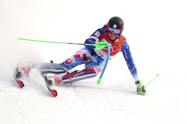 Petra Vlhova of Slovakia competes during the Ladies  Alpine Combined on day  thirteen of the PyeongChang 2018 Winter Olympic Games at… b5aabb58800