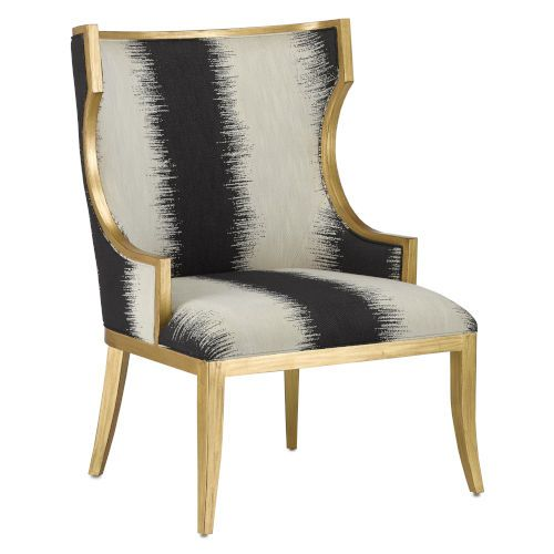 Currey & Company 7000-0842 Garson Black/White Chair in Black/White/Antique Gold, Traditional   Bellacor