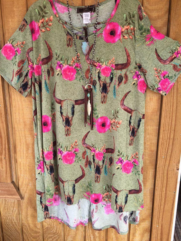 Green skull floral criss cross tunicdress clothing pinterest