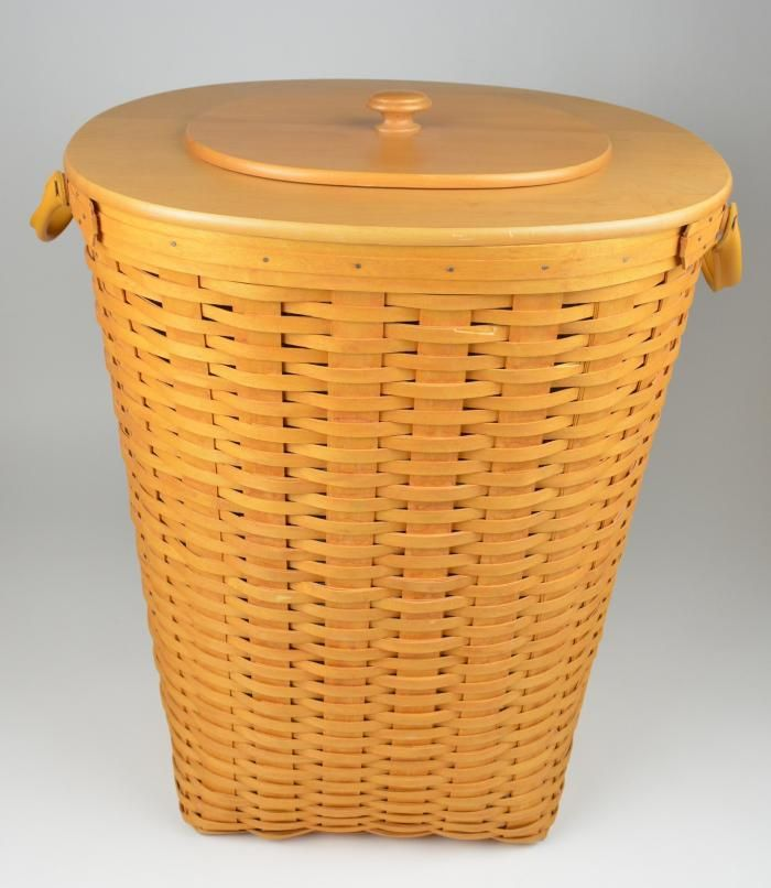 Longaberger 2001 Extra Large Xl Oval Waste Basket Combo With Protector Lid