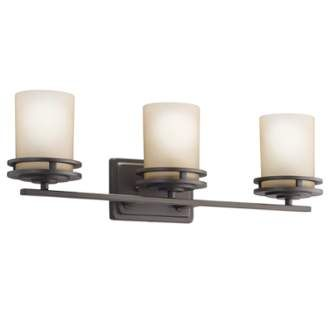Photo of Kichler 5078OZ Olde Bronze Hendrik 3 Light 24″ Wide Vanity Light Bathroom Fixture with Satin Etched Glass Shades
