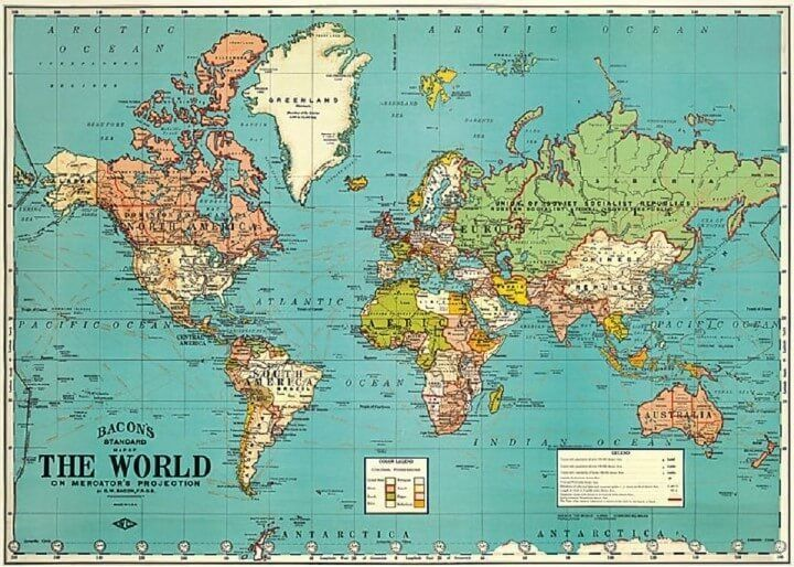 Bacon S Standard Map Of The World Mapping The World 2