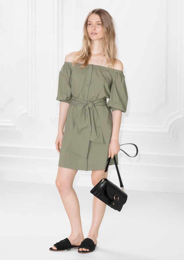 6f8ecedc7726   Other Stories image 1 of Buttoned Off-Shoulder Dress in Khaki ...
