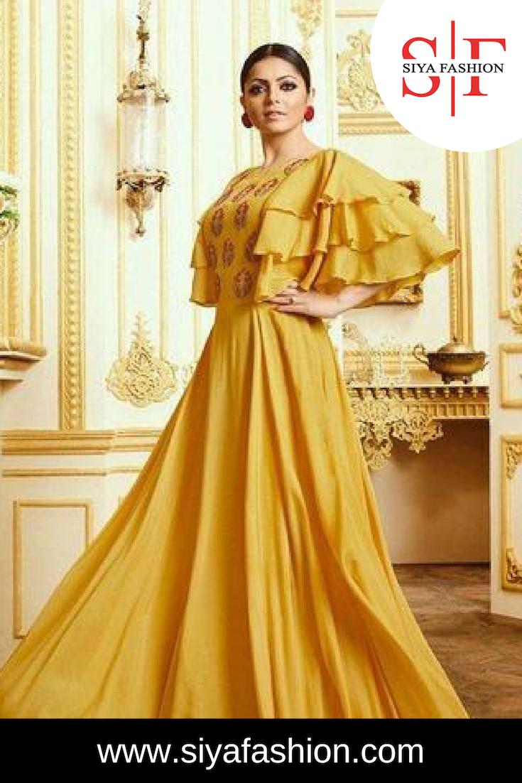 f18149bec9ca6 Siya Fashion Party Wear Fancy Long Yellow Kurti Fabric :- Maslin Kurti  Style :- Anarkali, A Line Color :- Yellow Pattern :- Embroidered Occasion  :- Casual ...