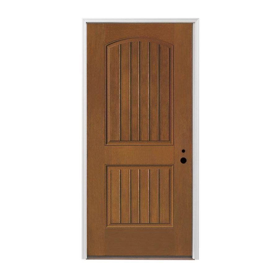 Pella 2 Panel Insulating Core Left Hand Inswing Prestained Provincial  Fiberglass Stained Prehung Entry