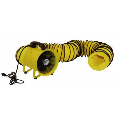 Maxxair 8 Inch High Velocity Axial Hose Fan And Polyvinyl Hose The Maxxair 8 Fan Provides Directional Airflow For Basements Crawl S Hose Floor Fans Air Tools