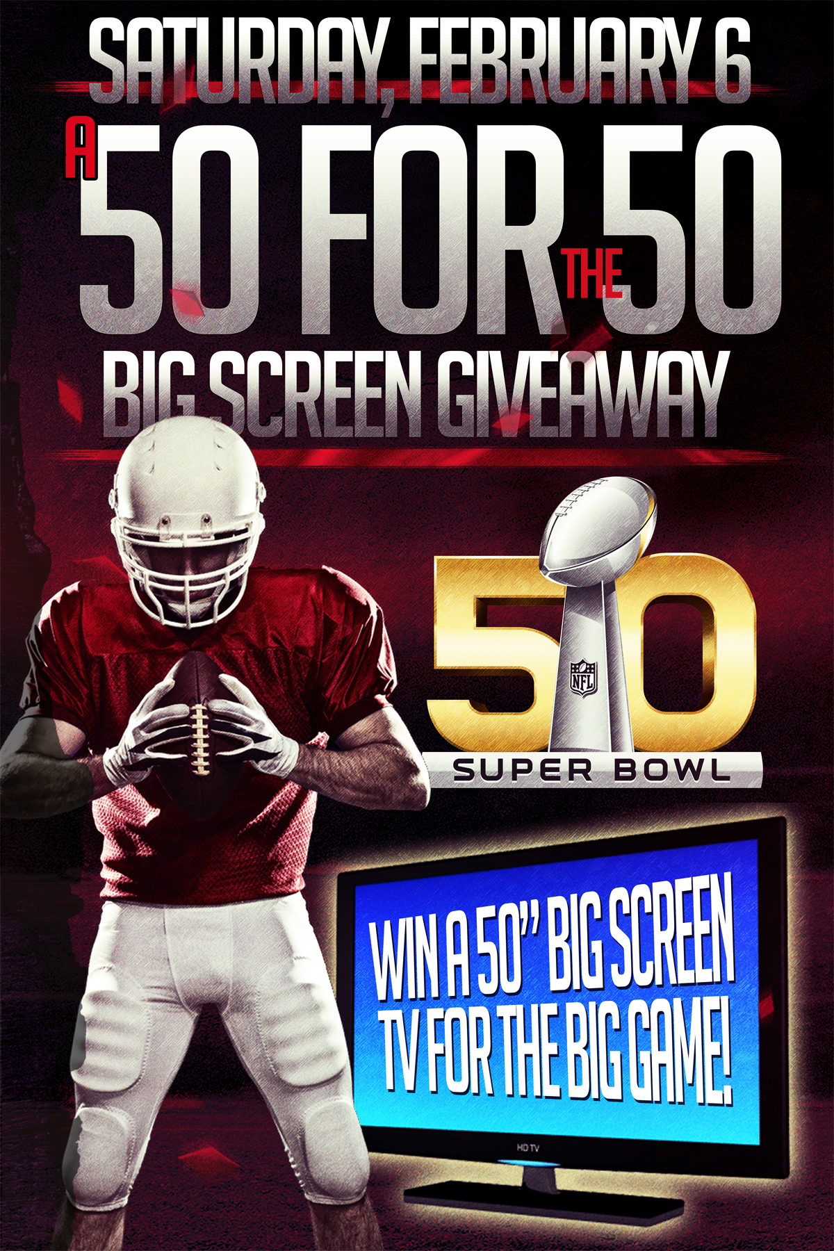 a 50 for the 50 big screen giveaway poster flyer design for the
