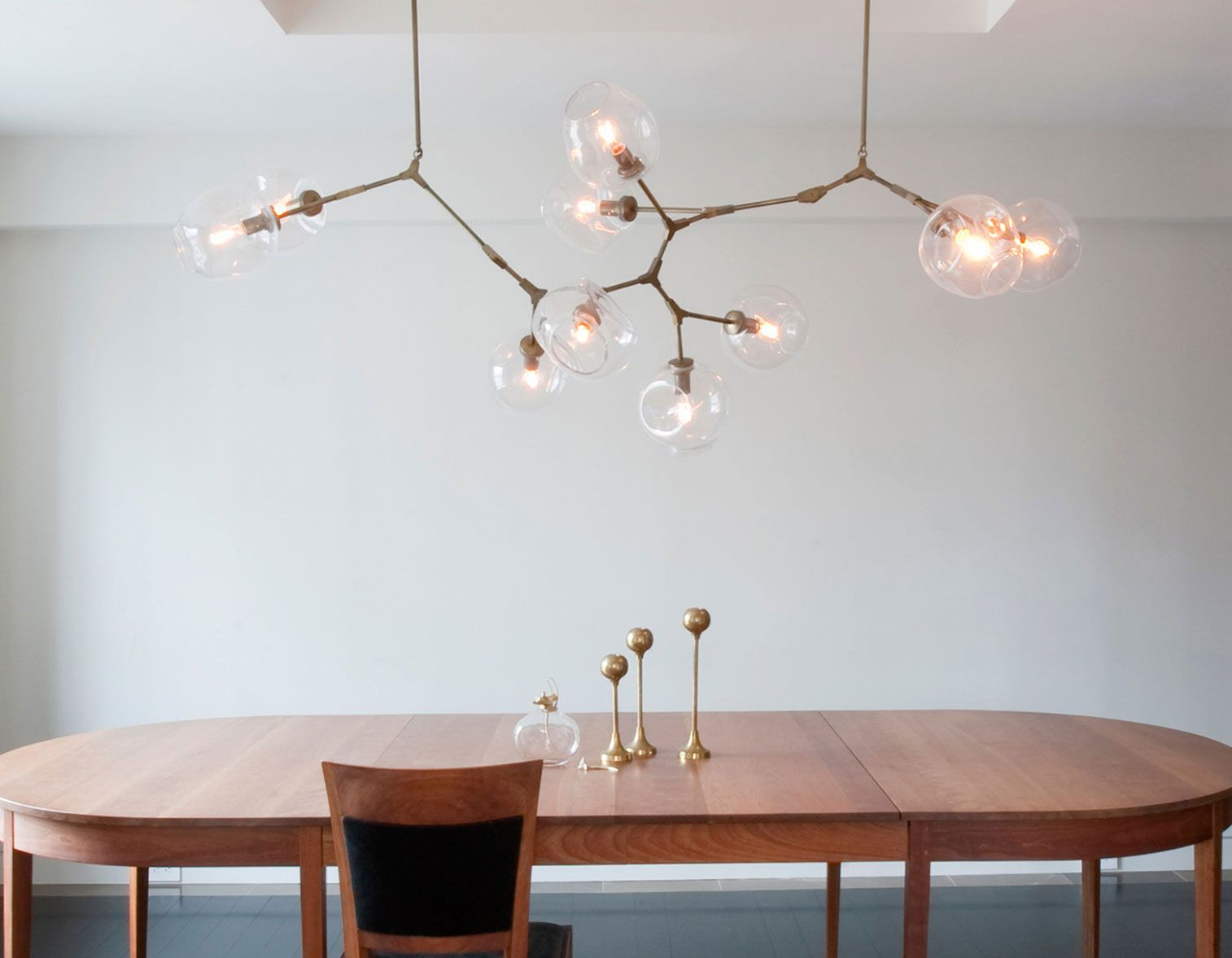 Custom 10 Globe Branching Chandelier In Vintage Brass With Clear Glass Globes