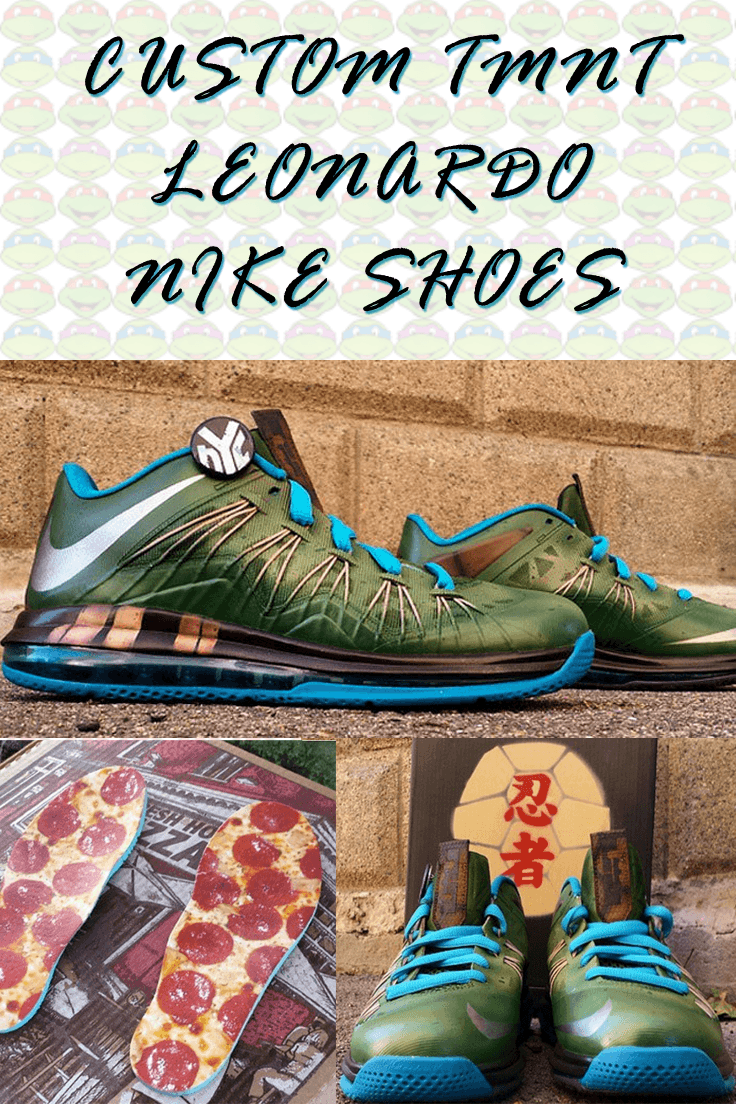 Check out these sweet TMNT Leonardo shoes!  #TMNT #NinjaTurtles #CustomShoes #Nike #Shoes