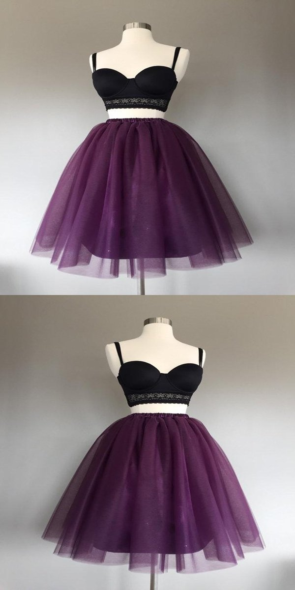 e54eed73643 A-Line Two Pieces Grape Tulle Short Prom Dresses Online