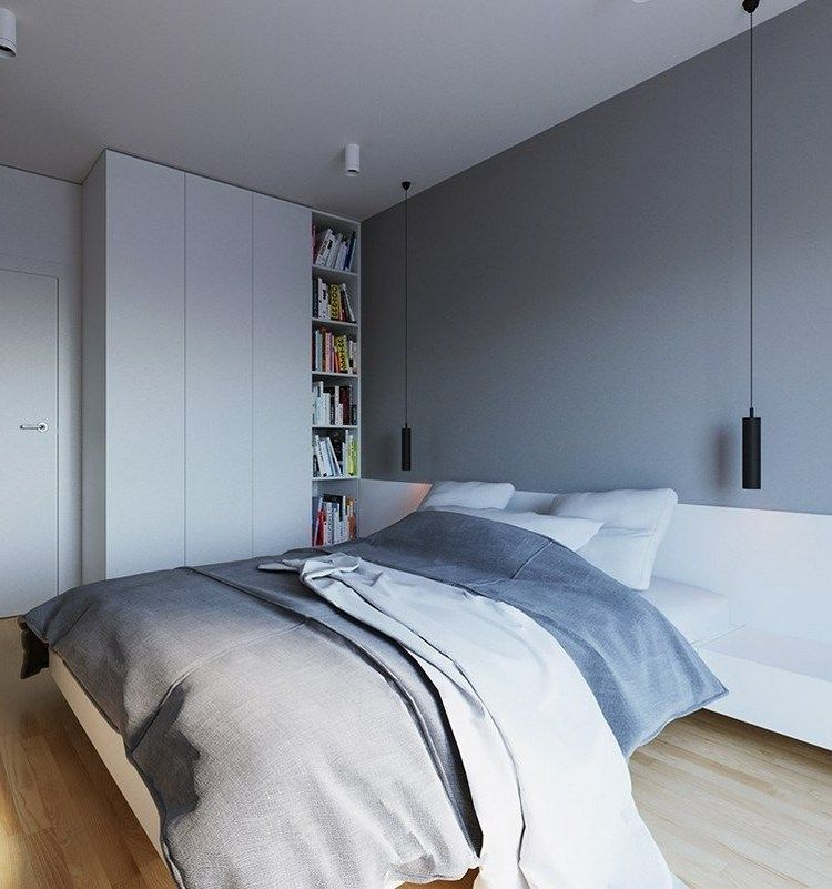 steingraue Wandfarbe, weiße Möbel und schwarze Pendelleuchten - wandfarbe schlafzimmer weisse möbel