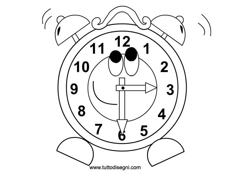 Sveglia Da Colorare Per Bambini Tuttodisegnicom Storia Clock