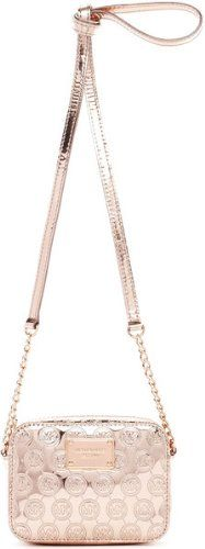 0f4c82307f29 MICHAEL Michael Kors Jet Set Crossbody Rose Gold Monogram Mirror Metallic