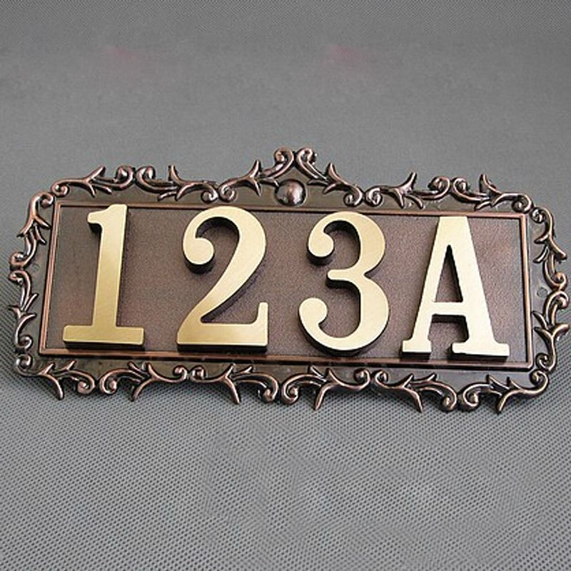 2pcs/LOT Classic Metal Brass Door Plate Hourse Apartment Home Hotel Door  Numbers Personalize Copper - 2pcs/LOT Classic Metal Brass Door Plate Hourse Apartment Home